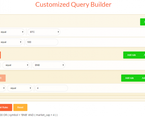 Customized Cryptocurrency Query Builder